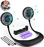 Neck Fan, 2x2600mAh USB Rechargeable Battery Operated Fan with a Charger, Personal Portable Fan Powerful Quiet Hands Free Wearable Neckband Fan, Hanging Around Neck Fans for Travel, Cooking, Working