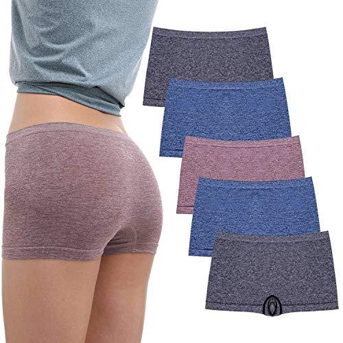 R RUXIA Damen Boyshort Panties Nahtlose Nylon Unterwäsche Stretch Boxershorts 5er Pack, 5 Stück (Schwarz, Schwarz, Blau, Blau, Hellkaffee), X-Large