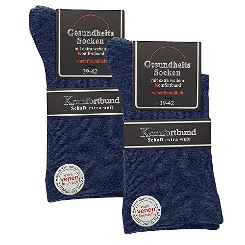 Premium Socks 6 Paar Extra Weite Herren Diabetikersocken ÜBERGRÖßE Gesundheitssocken Socken ohne Gummibund und ohne Naht mit Komfortbund Softrand in Blautöne 47-50