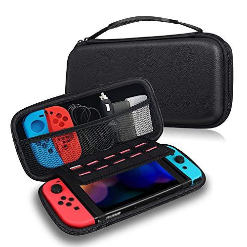 FINTIE Etui pour Nintendo Switch - Housse de Transport en EVA Sacoche de Rangement Zippée Anti-Choc, Coque de Protection Console avec 10 Emplacements Cartes de Jeu, Noir