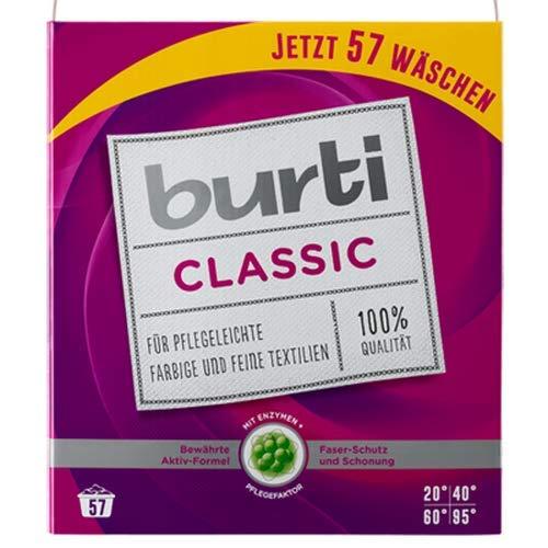 2x Burti Classic 4,31kg pflegeleichte farbige und feine Waschmittel für 57 Wäschen