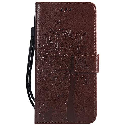 Karomenic kompatibel mit Huawei Mate 20 X PU Leder Hülle Katze Baum Prägung Handyhülle Brieftasche Silikon Schutzhülle Klapphülle Ledertasche Ständer Wallet Flip Case Schale Etui,Brown#