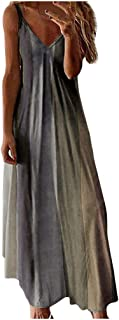 Women Summer V-neck Maxi Dress, Ladies Sexy Gradient Printed Sleeveless Party Long Dress