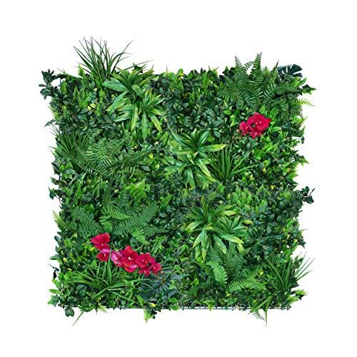 urbanjungle Pflanzenwand (Maße individuell): 1m² Matte mit künstlichen Pflanzen – Vertikaler Garten als Wandbegrünung, Sichtschutz am Zaun oder Balkon, Pflanzenbild (1m²)
