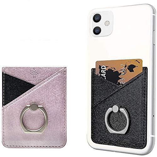 takyu - Funda para 2 Tarjetas de teléfono móvil, Piel sintética, autoadhesiva, para Smartphone, Tarjetero, RFID, Color Negro y Rosa