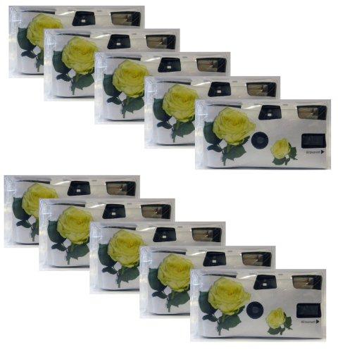 "Hochzeitskamera \""Yellow Roses\"" - 10er Pack Einwegkamera mit Blitz (27 Aufn. 400 ASA)"