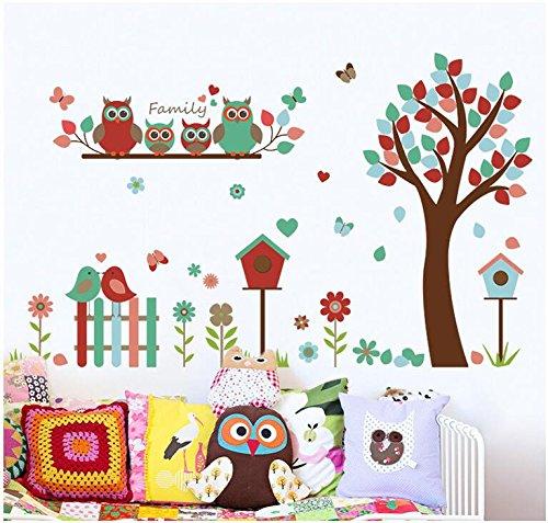HALLOBO® Wandtattoo Eulenbaum Baum Eulen Eule Vogel Wandaufkleber Wandsticker Kinderzimmer Kinder Baby