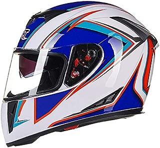 Leoie Men Motorcycle Helmet Four Seasons Double Lens Anti-Fog Full Helmet White Blue XXL