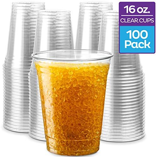 Vasos de plástico desechables transparentes de PET transparentes desechables, Transparente, 16 onzas