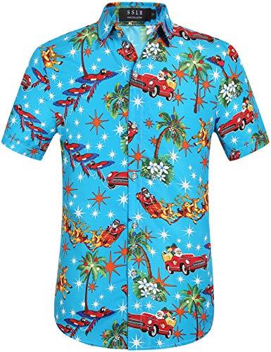 SSLR Men's Santa Claus Holiday Party Hawaiian Ugly Christmas Shirts (Large, Blue)
