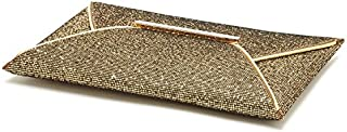 Womens Bling Shiny Square Clip Clasp Evening Clutch Bag Purse, Gold