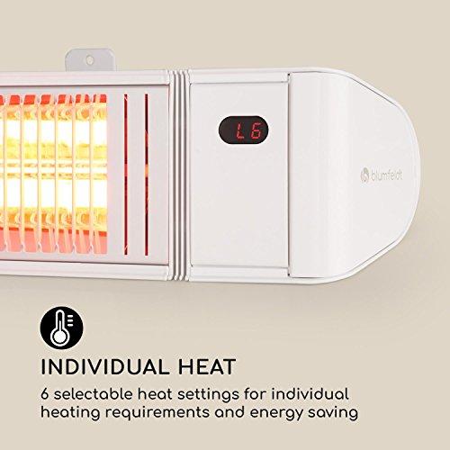 Blumfeldt Gold Fever Smart • Infrarot-Heizstrahler • Terrassenheizstrahler • 2000 W • 6 Wärmestufen • Infrarot-Wärme • Bluetooth • App-Control • bis 20 m² • inkl. Fernbedienung und Wandhalterung • weiß - 8