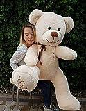 Odolplusz Riesen Teddybären 160 cm - Baby Kuscheltiere Große Teddy - Kuscheltier Für Babys Riesen Teddybär - XXL Plüschtier Teddy Bär, Geschenkideen Zum Geburtstag, Geschenke Zum Jahrestag (Beige)