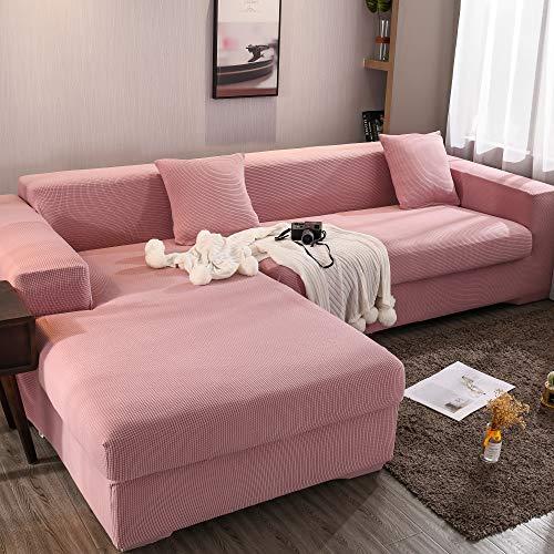 Homefurnishing sofabezug ecksofa l Form Sofa elastische Stretch Sofabezug Set für 1-4 Sitzer Sofa(Wenn Ihr Sofa für L-Form Ecksofa ist, müssen Sie Zwei kaufen)(Rosa-4 Sitzer)