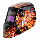 Antra AH6-260-6104 Solar Powered Auto Darkening Welding Helmet Wide Shade 4/5-8/9-13 with Grinding Feature Extra Lens Covers Great for TIG, MIG, MMA, Plasma