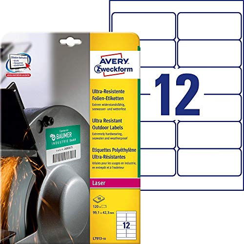 Price comparison product image Avery Zweckform L7913 Ultra Poly Film Labels (99.1 x 42.3 mm 10 Sheets White (Pack of 120)