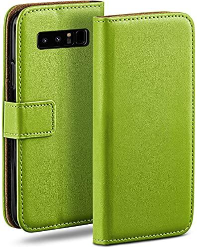 moex Klapphülle kompatibel mit Samsung Galaxy Note8 Hülle klappbar, Handyhülle mit Kartenfach, 360 Grad Flip Hülle, Vegan Leder Handytasche, Grün