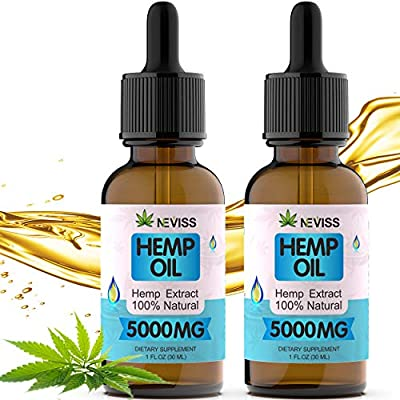 (2 Pack) Organic Hemp Oil Tincture 5000mg for Pain Relief, Stress and Anxiety Relief, Improve Sleep - 100% Vegan Hemp Oil Supplements for Immune Support & Anti-Inflammation - Made in USA from Nevissbags