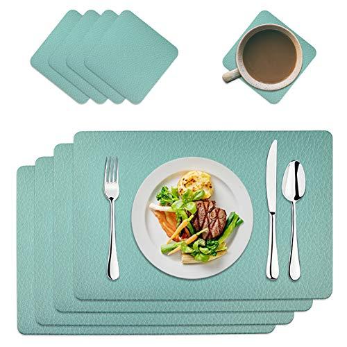 MAOOY PU Kunstleder Tischsets Platzdeckchen Abwaschbar 4er Sets Platzset Abwischbar mit 4er Untersetzer Quadrat, Tischmatten 45 x 30 cm für Küche, Familie, Blau