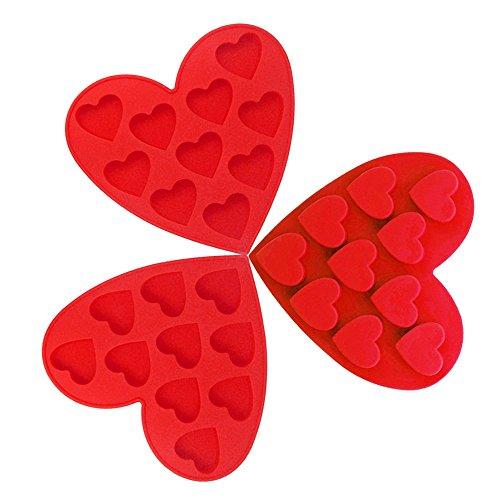 CNYMANY 3 paquetes de moldes de silicona para chocolate, con forma de corazón antiadherentes, para cocina, hornear, cubitos de hielo, bandejas para hacer tartas, dulces, gotas de gelatina