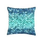 Mermaid Tail Co Aqua Blue Mermaid Tail Pattern for Women Teens or Girls Throw Pillow, 16x16, Multicolor