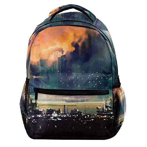 TIZORAX Science Fiction City Landscape Backpack School College Bag Bookbag Hiking Travel Rucksack for Women Men
