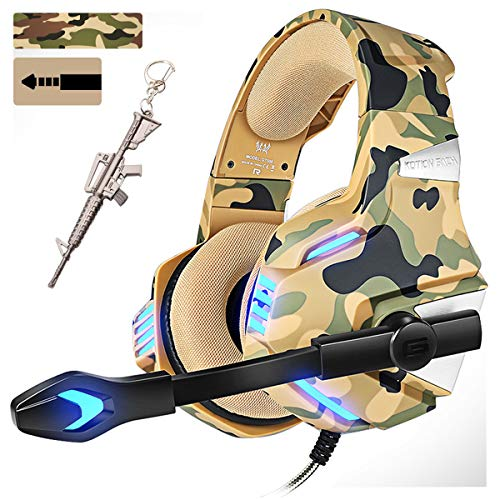 Camo Pro Stereo Gaming Headset for PS4 Xbox One PC, All-Cover Over Ear Headphones Deep Bass Surround Sound with360° Noise Canceling Mic & LED Light for Nintendo Switch Mac Laptop (Camouflage)