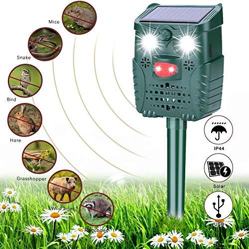 Solar Katzenschreck Ultraschall, Sinicyder Wasserdichter Tiervertreiber Repeller, Ultraschall/Blinklicht/Sound/Solar/USB Powered Cat Repellent, 4 Modus Einstellbar für Katzen, Vögel, Schädlinge