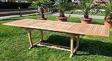 ASS Teak XXL Ausziehtisch Holztisch Gartentisch Garten Tisch L: 200/250/300cm Breite 100cm 2fach ausziehbar Gartenmöbel Holz sehr robust Modell: TOBAGO-300 von