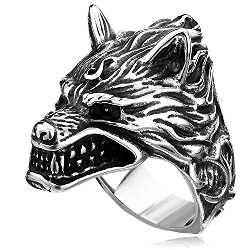 Anillo de Lobo Vikingo Odin para Hombre, Retro Punk, Acero Inoxidable Pulido, Rugiente, Cabeza Fenrir, Joyería Motociclista, Infieles Religiosos Son Anillos Banda Comprometidos,9