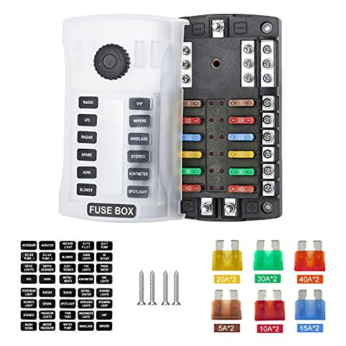 SOYOND 12-Way Upgraded With 2 Positive Terminals Waterproof Fuse Block,fuse Box With Led Indicator Damp-proof Cover 12 Circuits With Negative Marine Fuse Block For Dc 12/24v Automotive Boat RV Truck