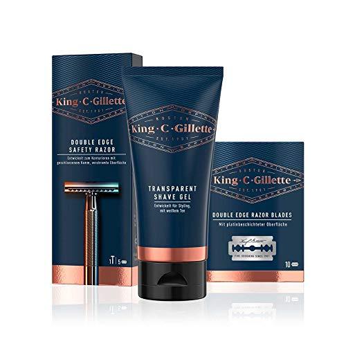 King C. Gillette Rasierset mit Rasierhobel Herren und Bartpflege, Rasierer + 15 Rasierklingen + Rasiergel, Vorteilspack