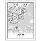 Póster de mapa de la línea de Portugal en color blanco y negro, impresiones en lienzo y pósteres, para decoración del hogar, sin marco (Lisboa, 50 x 75 cm)