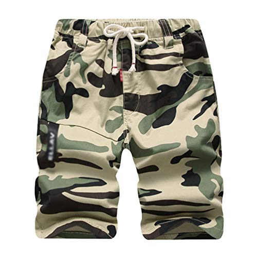 YOUJIAA Camouflage Shorts für Jungen Drawstring Cargoshorts Kinder Jogger Sport Jogginghose Bermuda - Khaki, 170