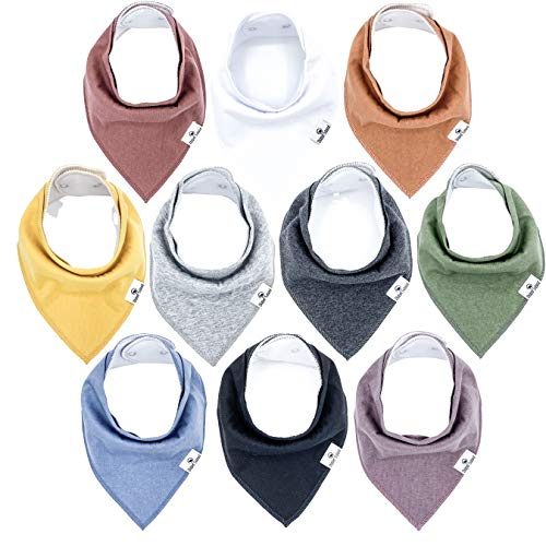 Diaper Squad 100% Organic Cotton Earthy Solid 10-Pack Baby Drool Bandana Bibs for Boys and Girls, Plain Colors