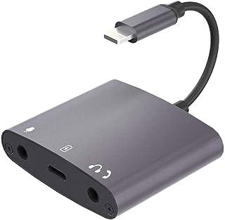 MeloAudio iOS USBハブ イヤホン変換アダプタ 充電端子付き 3.5mmイヤホン/マイクジャック 音量調整可能 生放送対応 DAC搭載 24bit/48kHz出力 ライトニンぐ端子 (シルバー)