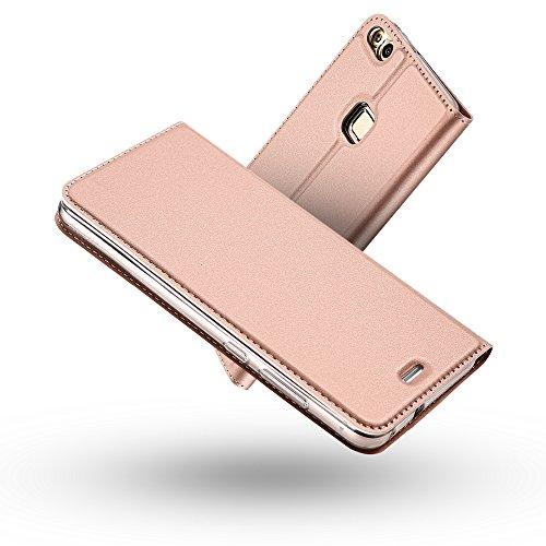Radoo Funda Huawei P10 Lite, Slim Case de Estilo Billetera Carcasa Libro de Cuero,Carcasa PU Leather con Silicona Interna Suave [Función de Soporte] [Cierre Magnético] para Huawei P10 Lite (Oro Rosa)