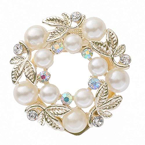 Katigan Anillo de Bufanda de Diamante de Imitación de Perla Falsa Elegante Clip Hebilla de La Bufanda de Seda Regalo