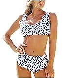 POachers Mujer Bikinis Estampado de Puntos de Hálter Bañadores de Tanga Traje de Baño Push Up con Relleno Ropa de Baño Natacion Playa Verano Fiesta Piscina Top y Shorts 2 Pieza