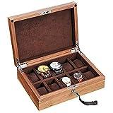 Caja de madera con 10 ranuras para joyas, caja de almacenamiento, tapa de cristal y caja de almacenamiento con cerradura de metal, regalos para hombres y mujeres