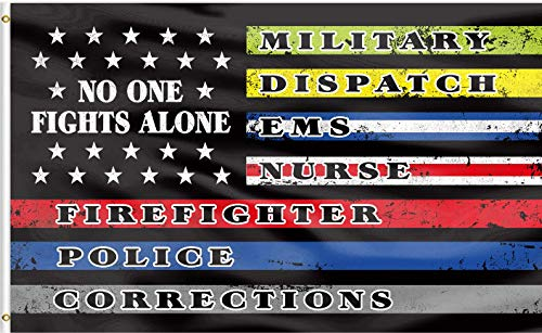 QOR Balance No One Fights Alone First Responders Flag Banner,Multi Line US American Flags Military Police Nurse Canvas Header Polyester Outdoor Decor with Brass Grommets 3x5 Ft