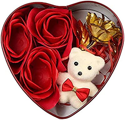 Akki World™ Heart Shaped Gift Box with Teddy and Gold Rose for Valentine Day/Birthday (Red)