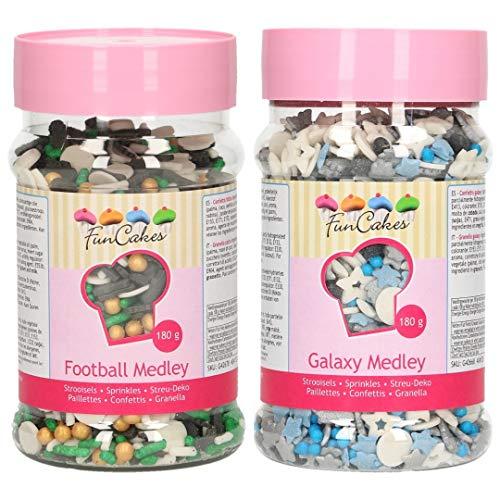 Funcakes - Sprinkles comestibles de azúcar - Pack de 2 botes. (Fútbol y La Galaxia)