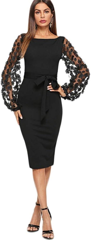 FRHKJ Dress Black Party Flower Applique Contrast Mesh Sleeve Form Fitting Belted Solid Dress Autumn Women Streetwear Dresses
