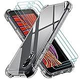 ivoler Funda para Samsung Galaxy Xcover 5 / Samsung Galaxy XCover5 con 3 Unidades Cristal Templado, Carcasa Protectora Anti-Choque Transparente, Suave TPU Silicona Caso Delgada Anti-arañazos Case
