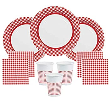Red Gingham Party Supplies Picnics Camping for 48 Guests Including Large Plates Napkins & Cups
