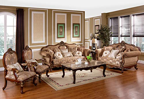 Best Master Furniture Madelyn Traditional 3 Pcs Living Room Sofa Set, Cherry Finish