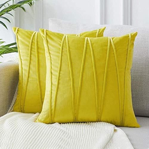 Samtgraue Kissenbezüge Weiche dekorative quadratische Kissenbezüge Streifendesign für Wohnzimmer Sofa Schlafzimmer mit unsichtbarem Reißverschluss 2er-Pack-18x18_Zitronengelb