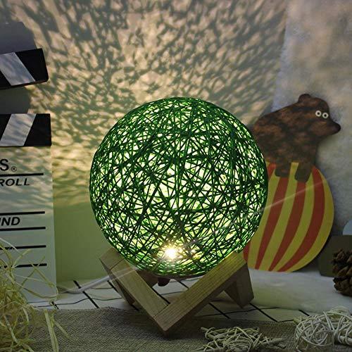 Wishing Star Takraw Lámpara de noche de madera proyector de luz nocturna con control remoto luz luna, verde (diámetro 15 cm), 3 W (remoto de madera colorido)