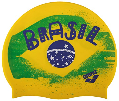Arena Silicone Print 2berretto di nuoto, Uomo, Uomo, Silicona Print 2, multicolore (flag / brasil)